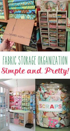 It's Bev from Flamingo Toes here with more ideas for tidying your craft space! Today I've gathered up all my favorite Fabric Storage Organization Ideas – everything for ways to store fab Sewing Room Design, Sewing Room Storage, Sewing Room Decor, Craft Room Design, Sewing Spaces, My Sewing Room, Craft Room Storage, Fabric Storage, Craft Organization
