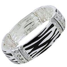 Fancy Chunky Silvertone Zebra Print and Crystals Stretch Bangle Bracelet Elegant Trendy Animal Print Fashion Jewelry $20.99