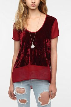 Band Of Gypsies Velvet Chiffon Blouse   #UrbanOutfitters