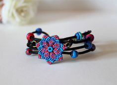 Flower Beaded Bracelet Mandala Macrame via Etsy