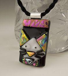 Cat Pendant, Dichroic Fused Glass Jewelry, Kitty Necklace, Cat Jewelry, Feline, Animal  X4113