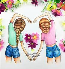 Visual result of bff drawings Best Friend Drawings, Girly Drawings, Pretty Drawings, Beautiful Drawings, Drawings Of Girls Hair, Cute Drawings Of People, Best Friends Cartoon, Friend Cartoon, Best Freinds