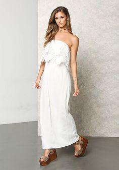 Ivory Crepe Floral Crochet Maxi Dress - Dresses