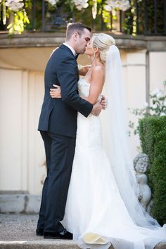 Romantic Bride & Groom Share First Kiss | Photography: Lane Dittoe Photography. Read More:  http://www.insideweddings.com/weddings/charming-wedding-at-california-estate-inspired-by-european-villa/817/