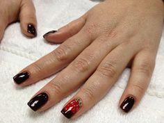 Nail Art: Chocolate-Dipped Strawberry Mani using CND Shellac - Fedora, Wildfire, Studio White | by Brandi G. Lam, Idaho's Green Manicurist
