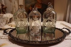 Etched glass decanters w/ ornate vanity tray by AnitaSperoDesign