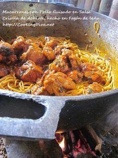 Macarrones con Gallina Guisada en Salsa de Achiote | Cooking Diva |