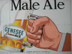 icollect247.com Online Vintage Antiques and Collectables - 1960s Genesee Beer Male Ale Original Art Sign