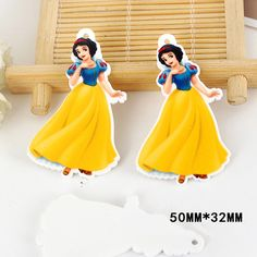 50pcs 50*32mm Cartoon Snow White Princess Flatback Resin Acrylic Charms Planar Resin DIY Craft Jewelry Accessories DL-569