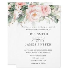 Rustic Blush Pink Floral Roses Greenery Wedding Invitation