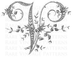 FRENCH ALPHABET STENCIL Large Letter  V  by RareVintagePatterns