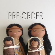 Original handmade doll. Mend by Ruby Grace design. Sacagawea inspired doll. Baby Pomp and carrier, fringe boots and fringe trimmed dress. Please note there are raw edges in this design. High qua...