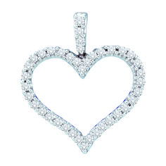 0.48CTW DIAMOND LADIES HEART PENDANT 14KT White Gold