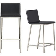 """<span class=""""copyHeader"""">mod bod.</span> Streamlined one-piece leather suits 'n' seats all sizes. Wide seat/back dine square in the comfort zone. Carbon leather composite with monochromatic topstitch. Tubular square metal legs with footrest kick back in satin nickel finish.<br /><br />Pick up tips for decorating with black and white on <a rel=""""external""""href=""""http://cb2.com/blog/black-and-white-decor/"""">Idea Central</a>.<br /><br /><NEWTAG/><ul><li>Continuous seat and back in topstitched…"""