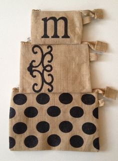 Personalized Burlap Cosmetic Bag Set by 2happygrlzdesign on Etsy
