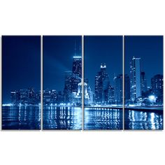 DesignArt Chicago Skyline Night - Cityscape 4 Piece Photographic Print on Wrapped Canvas Set
