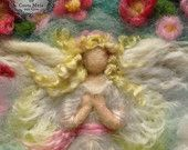 Guardian Angel with Spring Flowers. 8 x 10 inches Unframed Needle-Felted wool picture by Castle of Costa Mesa