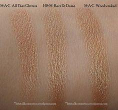 Baci Di Dama H&M High Impact Eye Colour, All That Glitters and Woodwinked MAC eyeshadows