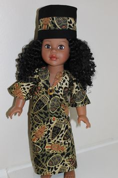 Lovely ethnic outfit with hat for 18 inch doll by sandidoll