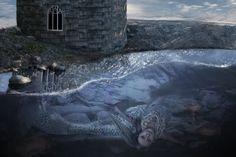 composite photography, fantasy fine art. mermaid child