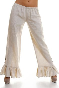 Solid linen ruffle pants with button detail and an elastic waist.  Ruffle Linen Pants by Stylebook. Clothing - Bottoms - Pants & Leggings - Straight Texas