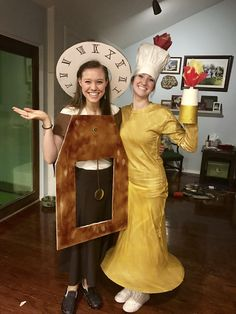 Cogsworth and Lumiere DIY Halloween Costumes - Make Up Desk Diy Beauty And The Beast Costumes, Beauty And The Beast Diy, Beauty Beast, Family Halloween Costumes, Halloween Kostüm, Diy Costumes, Costume Ideas, Broadway Costumes, Teacher Costumes