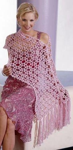 Beautiful pink shawl + diagram