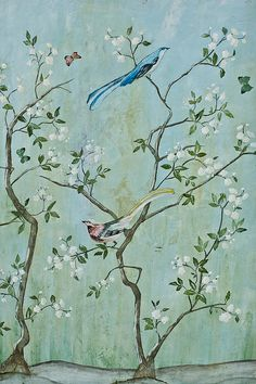Sweet Chinoiserie Art Print by Jennifer Staten. All prints are professionally printed, packaged, and shipped within 3 - 4 business days. Choose from multiple sizes and hundreds of frame and mat options. Chinoiserie Wallpaper, Chinoiserie Chic, Of Wallpaper, Designer Wallpaper, Chinese Wallpaper, Painted Wallpaper, Wallpaper Designs, Art Mur, Wall Murals