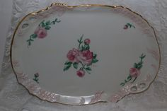 Vintage 1970s Hand Painted Porcelain Rose Gold Serving Tray Platter Wedding Parties Briday Shower Collectible Dining Serving Shabby Cottage by TresorsEnchantes on Etsy
