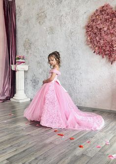 Pink Flower Girl Dress - Birthday Wedding party Bridesmaid Holiday Pink Tulle Lace Flower Girl Dress