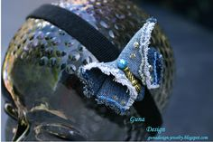 Hairband Butterfly form jeans with beads rland