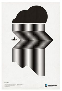 I found this poster, and think that it has been made so well. It is so simple yet the fine lines at an angle and straight give such an interesting effect of rain, or a bad thunderstorm the plain has just come out of.