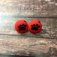 Paw Print Button Earrings Handmade Red and by OnlyYoursJewelry