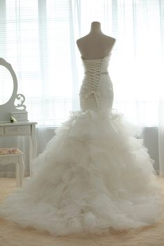 Vintage Tulle Organza Wedding Dress Bridal Gown Strapless Sweetheart Mermaid Trumpet Prom Ball Gown with Train Beaded Crystal Belt Sash. $637.00, via Etsy.