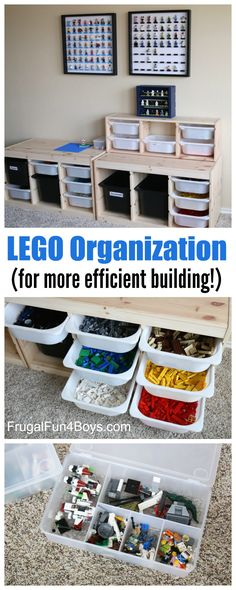 LEGO Storage and Organization for More Efficient Building - Help kids keep the LEGO bricks picked up themselves with this system!