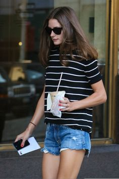 Olivia Palermo looks casual yet classic (think Audrey Hepburn) in her Black/Vanilla Striped vkoo Tee