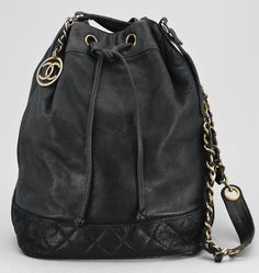 A 1970s black leather shoulderbag by Chanel. Leather Bag Design f8eaa3cce3272