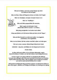 Munmotoriskt kompendium Learn Swedish, Swedish Language, Special Needs, Pre School, Songs, Education, Learning, Inspiration, Languages