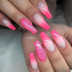 Beautiful Hot Pink Ombre Coffin Nails With Matte Finish By