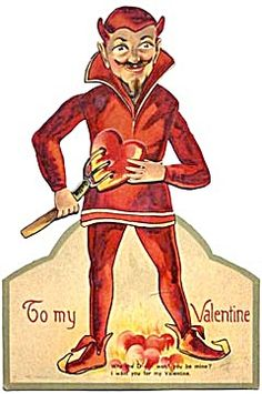 Vintage German Large Mechanical Devil Valentine Card. How unique! Wow. For scrapbooking, altered art, gift tags, framing, cards.