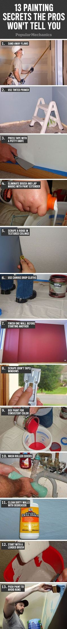 Painting Secrets the Pros Won't Tell You Each painter has slightly different methods and preferences, but the pros all know the trade secrets.Each painter has slightly different methods and preferences, but the pros all know the trade secrets. Home Improvement Projects, Home Projects, Home Renovation, Home Remodeling, Home Repairs, Do It Yourself Home, Home Hacks, Home Tips, Hacks Diy
