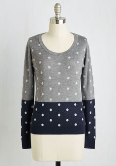 Dot Re Mi Sweater. If ever there were a sweater that inspires a ditty, its this darling polka-dotted pullover! #grey #modcloth