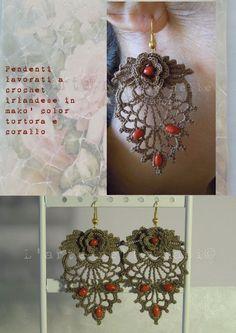 Earrings Ireland crochet with coral Form Crochet, Crochet Motif, Irish Crochet, Crochet Designs, Crochet Flowers, Crochet Patterns, Crochet Earrings Pattern, Crochet Bracelet, Jewelry Crafts