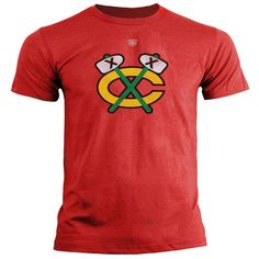 Mens Chicago Blackhawks Old Time Hockey Red 1964 Throwback Briggs Distressed Logo T-Shirt