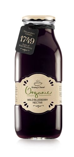 Packaging + Product Design. Granny's Secret Organic Wildberry Nectar.