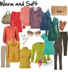 Great article with groups of colors that will color block well together. Warm and soft (smoky) color block here. These colors will look good on people with warm skin and cool gray hair.
