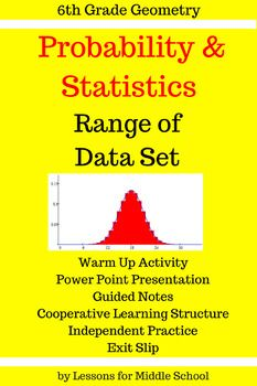 This lesson focuses on determining the Range of a Data Set.  This is a comprehensive lesson so the teacher will only have to download the product and then print out copies with their students. This product covers the first 6th Grade Common Core Math Standard of:6.SPA.2Understand that a set of data collected to answer a statistical question has a distribution which can be described by its center, spread, and overall…