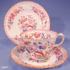 Charles Ford Antique Hand-Painted Fluted Floral Vintage Bone China Tea Cup, Saucer and Tea Plate Trio Pattern 7889