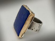 Rustic Big lapis sterling silver ring with brass bezel by isajul