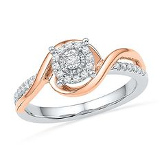 Sterling Silver With Pink Gold Round Diamond Promise Ring cttw). Metal Type - Rose-gold-and-sterling-silver. Round Cut Diamond Rings, Diamond Promise Rings, Promise Rings For Her, Round Diamonds, Wedding Jewelry Simple, Rings Pandora, Square Engagement Rings, Sterling Silver Rings, White Gold